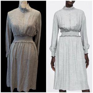 Zara High Neck Light Gray Victorian Midi Dress